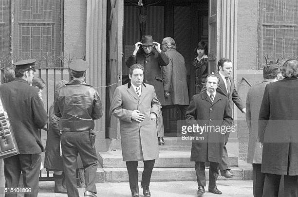 Bodyguard At Funeral Peter Diapoulos bodyguard of slain mobster Joseph Crazy Joe Gallo leaves church after funeral service for Gallo here April 10th...