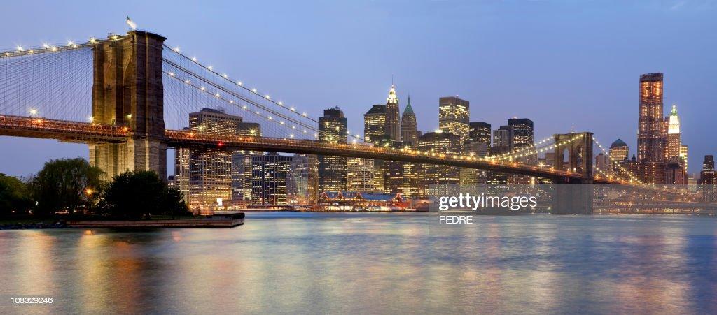 new yorkbrooklyn bridge und lower manhattan stock foto getty images. Black Bedroom Furniture Sets. Home Design Ideas