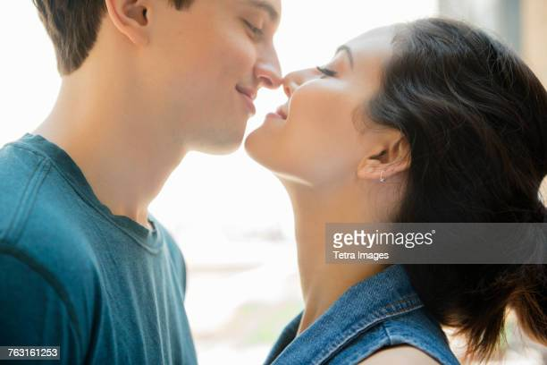 New York, Brooklyn, Couple about to kiss