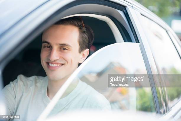 New York, Brooklyn, Man in drivers seat, portrait