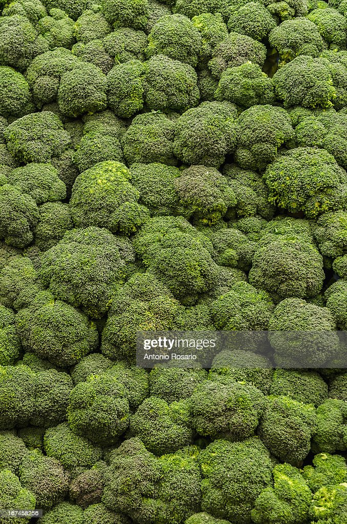 USA, New York, Brooklyn, Stack of broccoli : Stock Photo