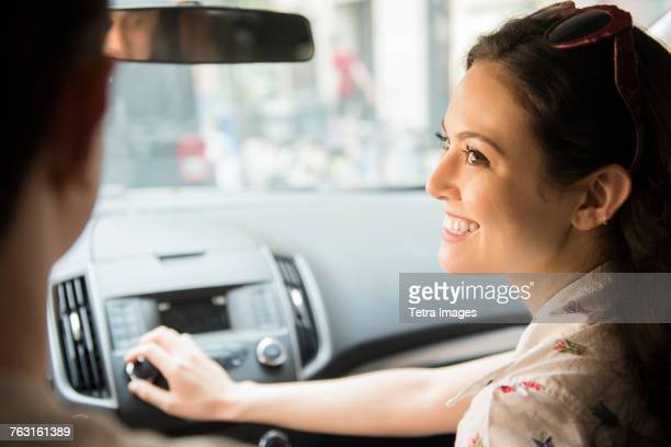 New York, Brooklyn, Woman playing car radio