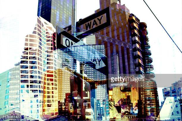 new york. buildings and street sign. digital composite. - digital composite stock pictures, royalty-free photos & images