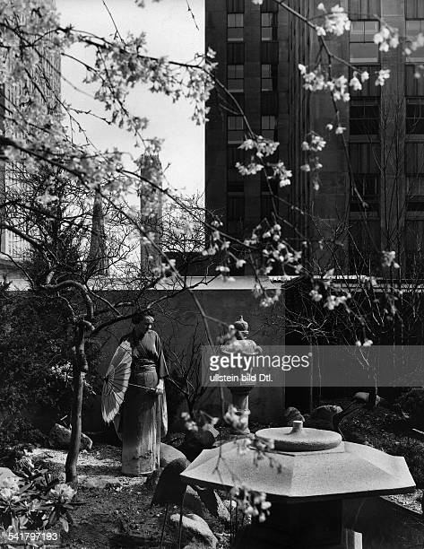 USA New York Bundesstaat State New York City Woman wearing a kimono at the japanese garden one of thirteen gardens in the gardens of the nations...