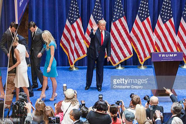 New York business mogul Donald Trump makes his way off stage after announcing his candidacy for the US presidency at Trump Tower on June 16 2015 in...