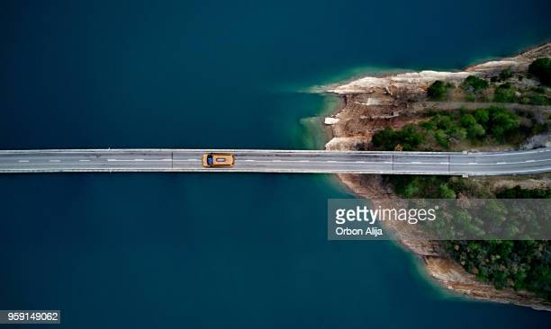 new york cab on a bridge - thoroughfare stock photos and pictures