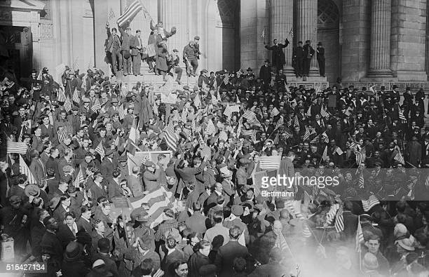 New York Celebrates Surrender of Germany New York New York One of the many cheering crowds