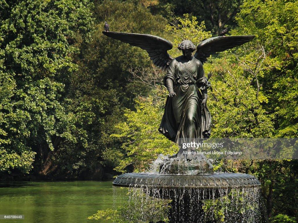 Usa New York Central Park Bethesda Fountain Stock Photo