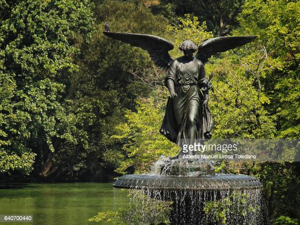 usa, new york, central park, bethesda fountain - bethesda maryland stock photos and pictures