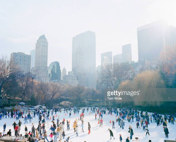 USA, New York, Central Park, people on ice skating rink, elevated view