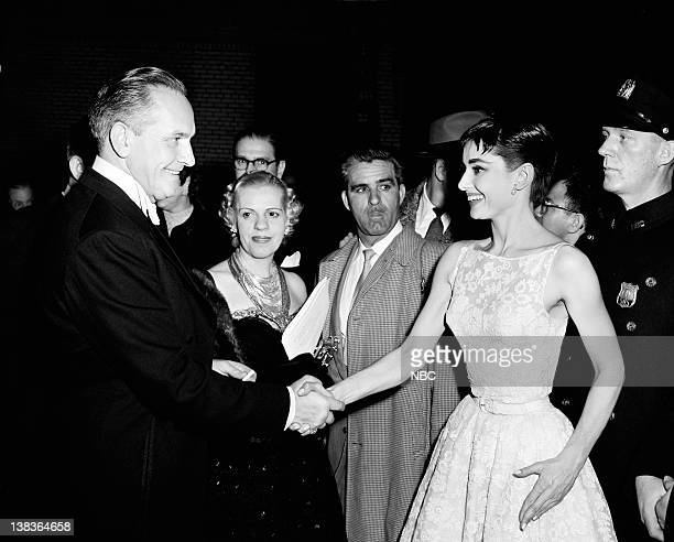 AWARDS New York Ceremony Air Date Pictured Fredric March congratulates Best Actress winner Audrey Hepburn for 'Roman Holiday' during the 26th Annual...