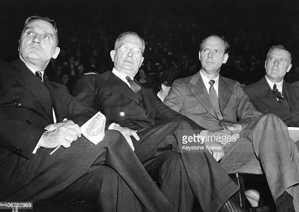 New York Charles A Lindbergh Watching The American First Rally At Madison Square Garden