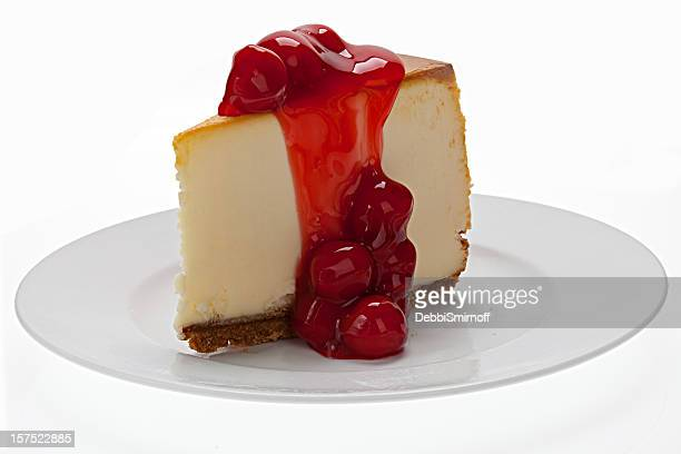 new york cheesecake with cherries - new cherry stock pictures, royalty-free photos & images