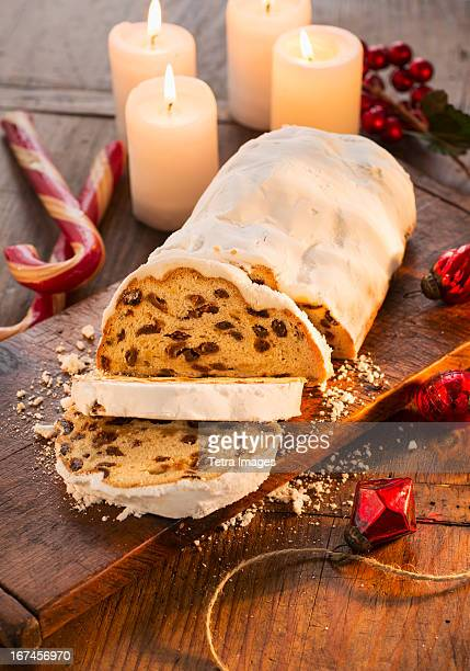 usa, new york, christmas fruit cake - fruit cake stock pictures, royalty-free photos & images