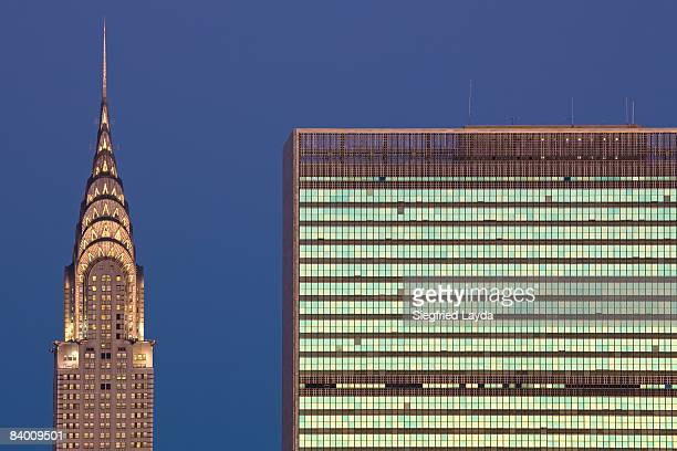 new york chrysler building and uno headquarter - chrysler building stock pictures, royalty-free photos & images