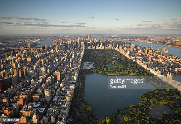 usa, new york city, aerial photograph of central park in manhattan - central park stock pictures, royalty-free photos & images