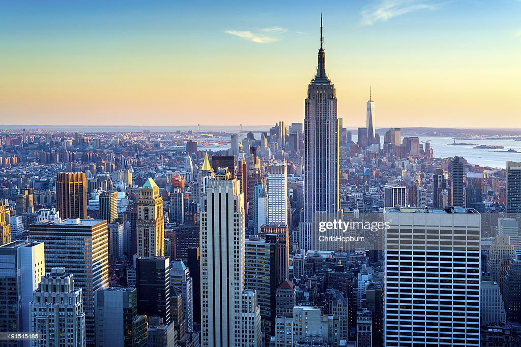 New York City Aerial Skyline at Dusk, USA : Stock Photo