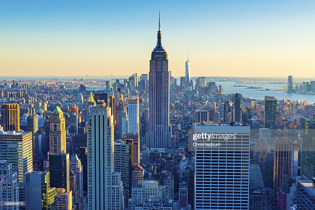 new york city aerial skyline at dusk usa stock photo getty images. Black Bedroom Furniture Sets. Home Design Ideas