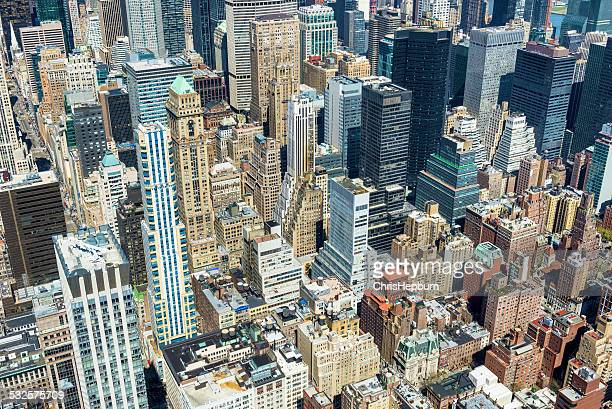 new york city aerial skyline manhattan, usa - metlife building stock pictures, royalty-free photos & images