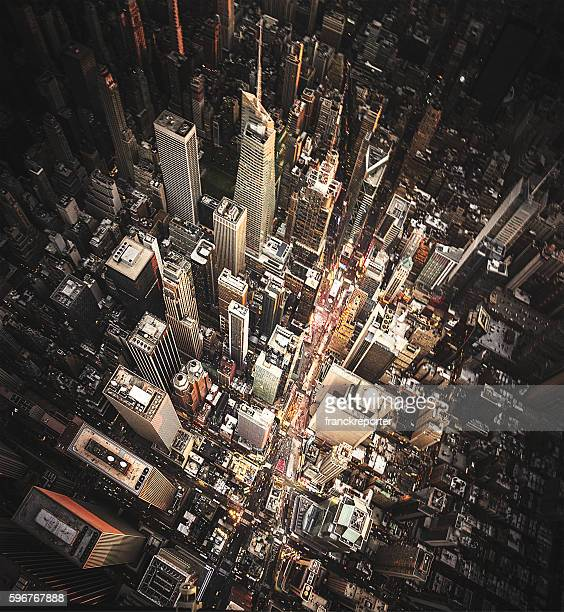 new york city aerial view of the downtown - 縦位置 ストックフォトと画像