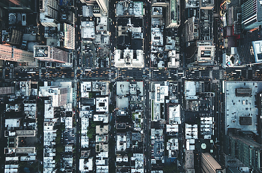 new york city aerial view of the downtown 598224046