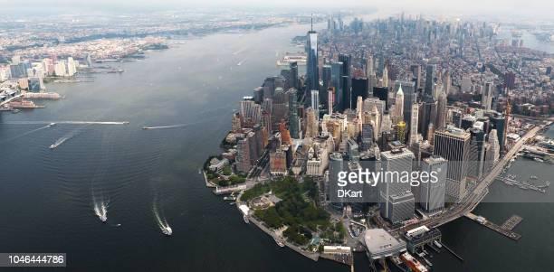luftbild von new york city - börse new york stock-fotos und bilder