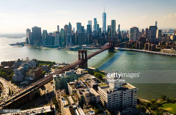 new york city aerial view - east stock pictures, royalty-free photos & images