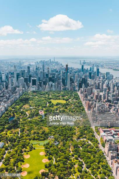 new york city aerial view - central park stock pictures, royalty-free photos & images