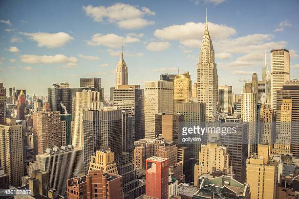 new york city aerial view - midtown manhattan stock pictures, royalty-free photos & images