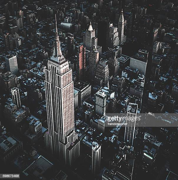 New York City aerial view skyline of empire state building