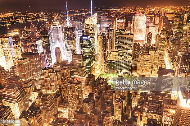 new york city aerial view skyline - bryant park stock pictures, royalty-free photos & images