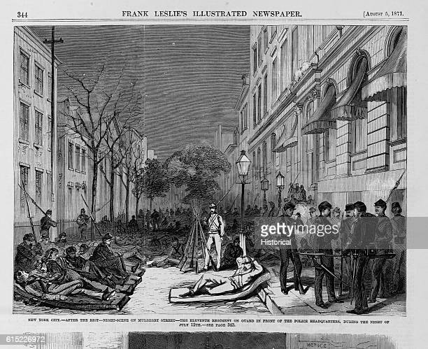 New York City - After the riot - Night scene on Mulberry Street - The Eleventh Regiment on guard in front of the police headquarters, during the night