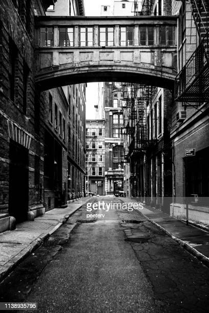 new york city - alley in tribeca district - soho new york stock pictures, royalty-free photos & images