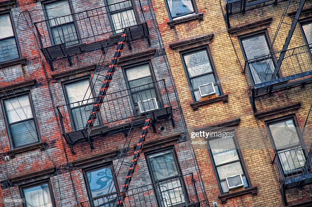 New York City Apartment Brick Detail And Fire Escapes : Stock Photo
