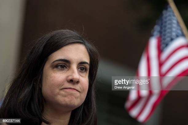 New York City assemblywoman Nicole Malliotakis a Republican running for New York City mayor speaks during a 'Support Your Police' rally outside of...
