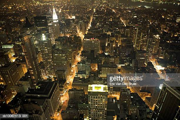 usa, new york city at night, elevated view - eric van den brulle - fotografias e filmes do acervo