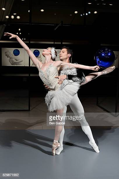 New York City Ballet dancers Ashley Laracey and Troy Schumacher perform during the Jeff Koons x Google launch on May 09 2016 in New York New York