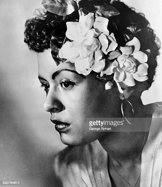 Billie Holiday A 1938 portrait when she appeared at Cafe Society in NYC with a swatch of gardenias in hair hairstyle which from then on became her...