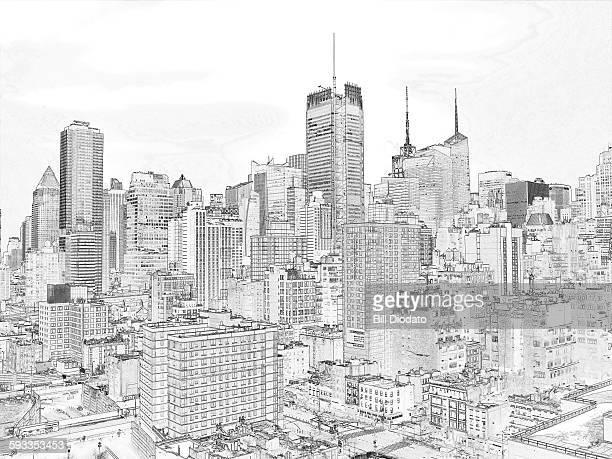 New york city blueprint stock photos and pictures getty images new york city blueprint model treatment malvernweather Image collections