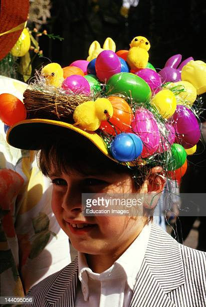 New York City Boy At Easter Parade Wearing Decorative Hat