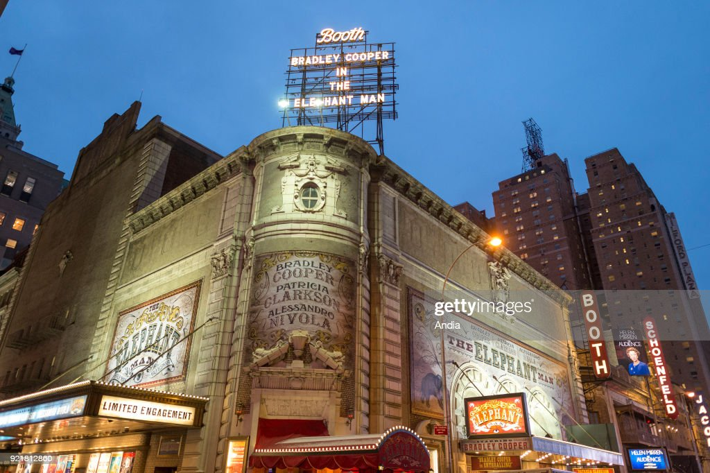Broadway Booth Theatre at night.