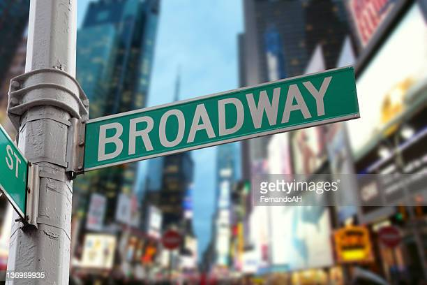 new york city broadway lights - broadway manhattan stock photos and pictures