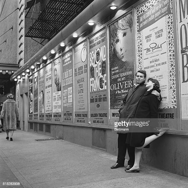 Broadway Melody of 1963 Posters advertising the hit Broadway shows line the famous Shubert Alley which links 44th Street with 45th Street in the...