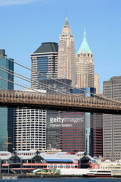 USA, New York City, Brooklyn Bridge and Manhattan