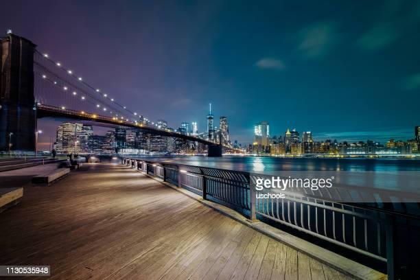 ciudad de nueva york-puente de brooklyn - brooklyn nueva york fotografías e imágenes de stock