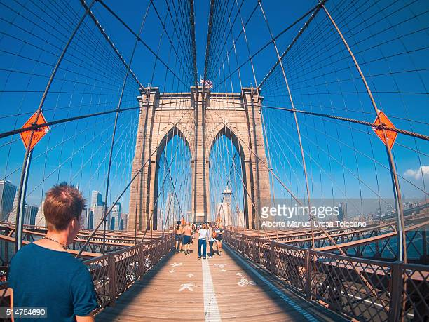 usa, new york city, brooklyn bridge - felipe vi of spain stock-fotos und bilder