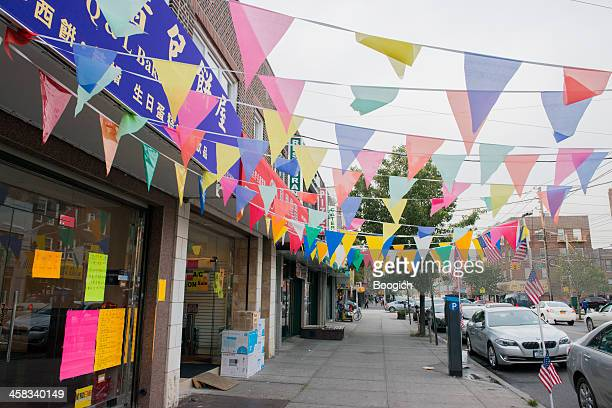 new york city brooklyn sidewalk with flags - dyker heights stock pictures, royalty-free photos & images