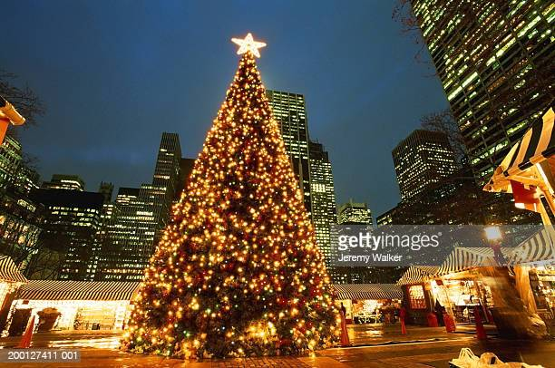 USA, New York City, Bryant Park, illuminated Christmas tree, night