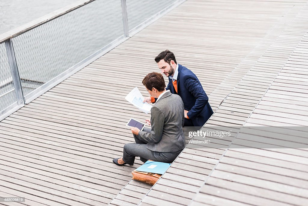 USA, New York City, Business people meeting outdoor : Stock Photo