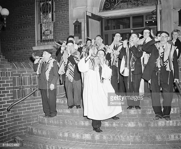 Call For Prayer For Invasion Standing on the steps of the synagogue of the Brooklyn Hebrew Home and Hospital for the Aged old inmates who wear their...
